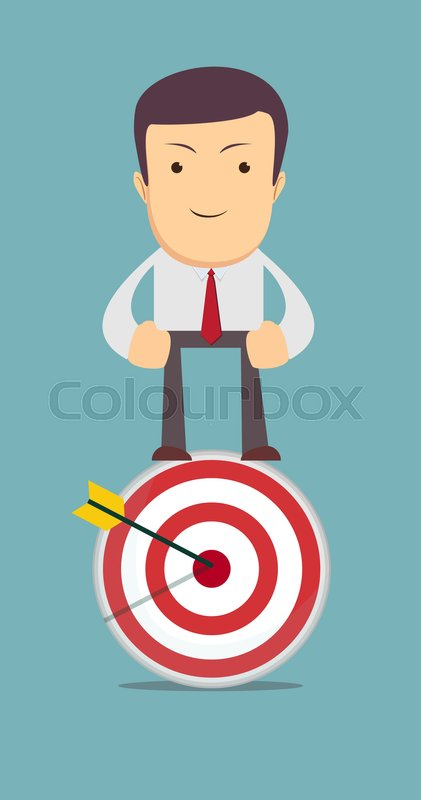 Man Stands On Top Of The Target As Symbol For Choice Career Path Or