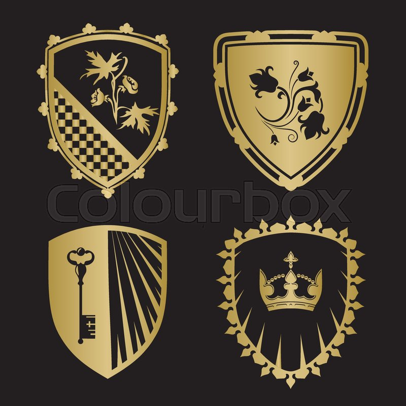 Coat Of Arms Shield Silhouettes With Crown Key Flowers In Gold