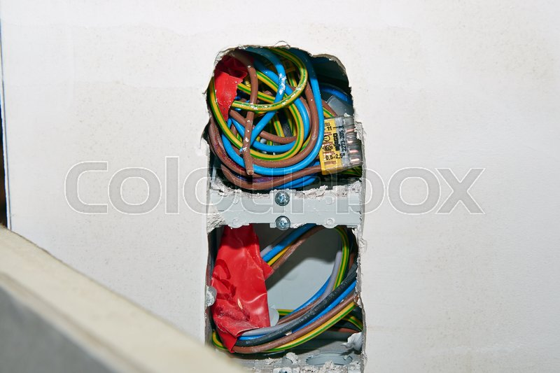 Preparation and installation of a electrical network in home, stock photo