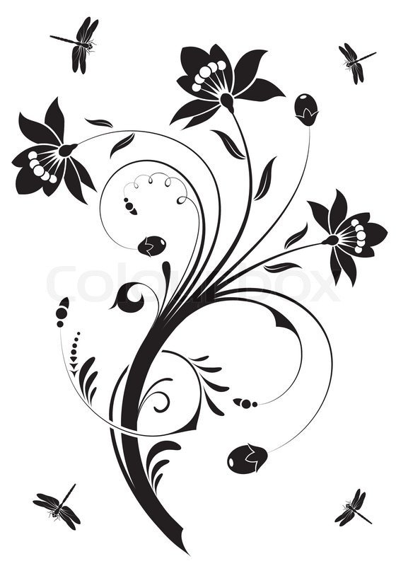 floral ornament with dragonfly  element for design  vector illustration