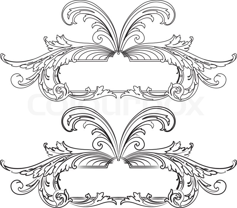 baroque design element traditional style all curves separately vector