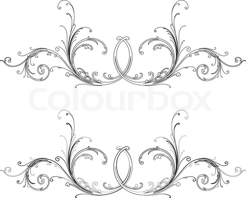 baroque design element traditional style all curves separately stock vector colourbox. Black Bedroom Furniture Sets. Home Design Ideas