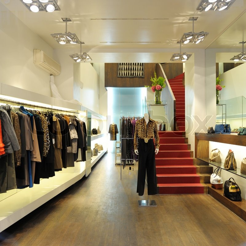 Interior of a boutique store with fashionable luxury women for Interior designs of boutique shops