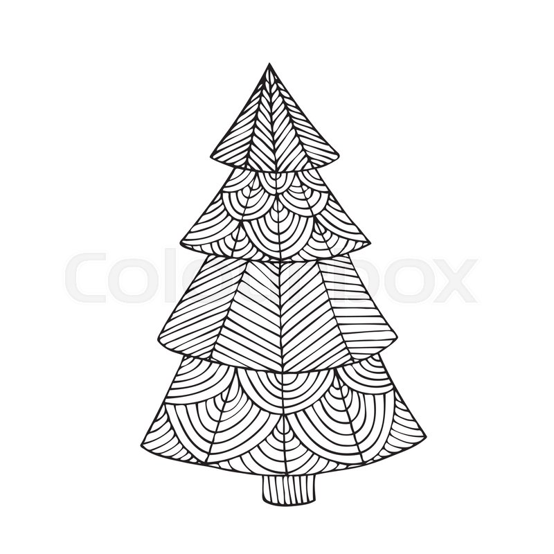 Adult coloring book page design with the image of a Christmas tree ...