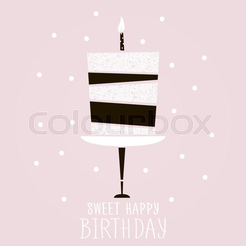 Cute Pink Cake With Happy Birthday Wish Modern Greeting Card