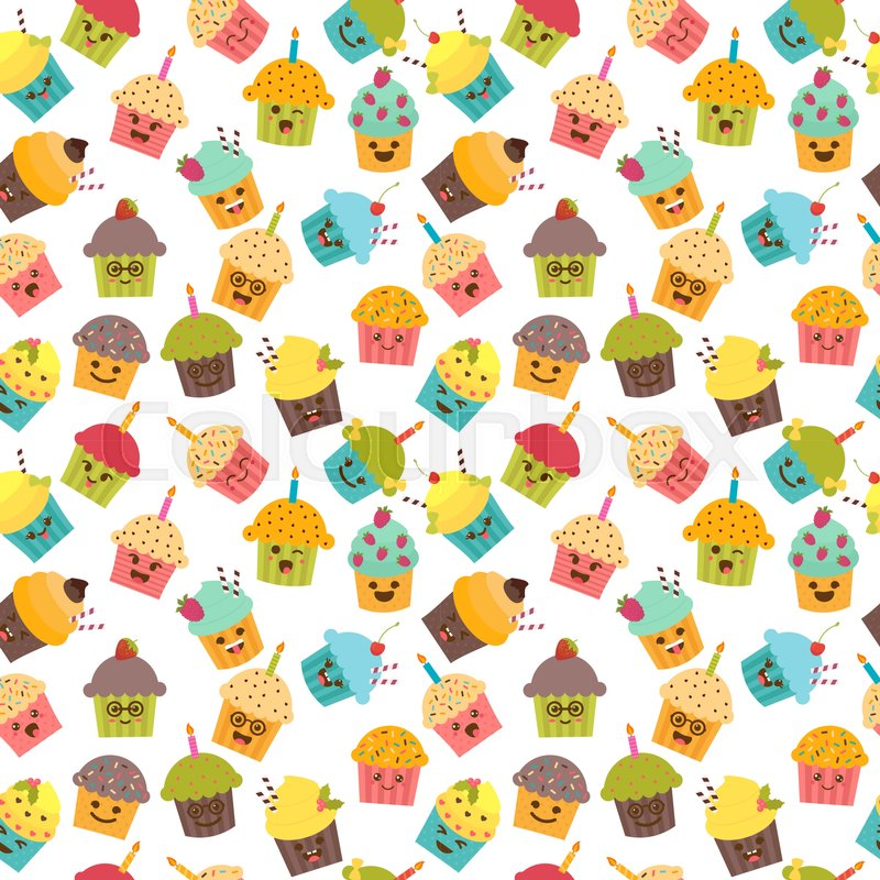 Birthday Background Seamless Pattern With Cupcakes And Muffins Kawaii Cute Cartoon Characters Emoji Vector Illustration