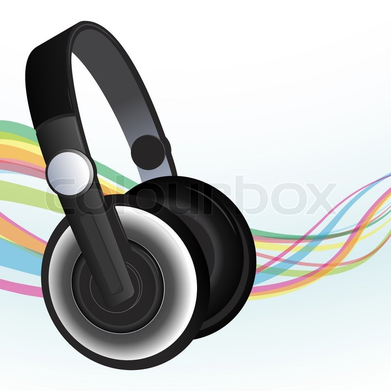Headphones And Sound Waves Stock Vector Colourbox