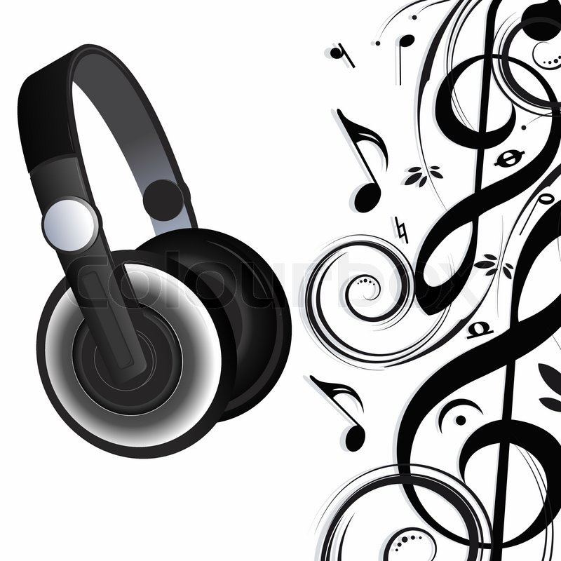 Headphones and notes | Stock Vector | Colourbox