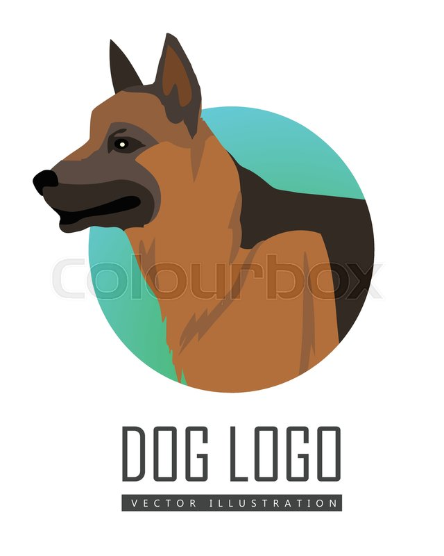 German Shepherd Dog Round Logo On White Background Dog Icon
