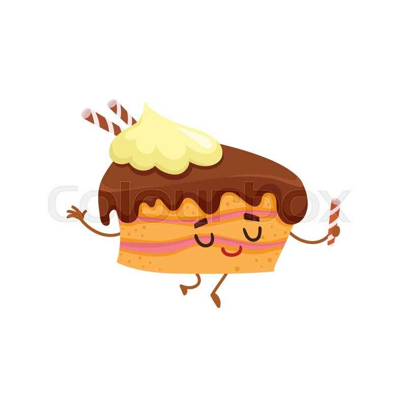 Funny Sponge Cake Character With Stock Vector