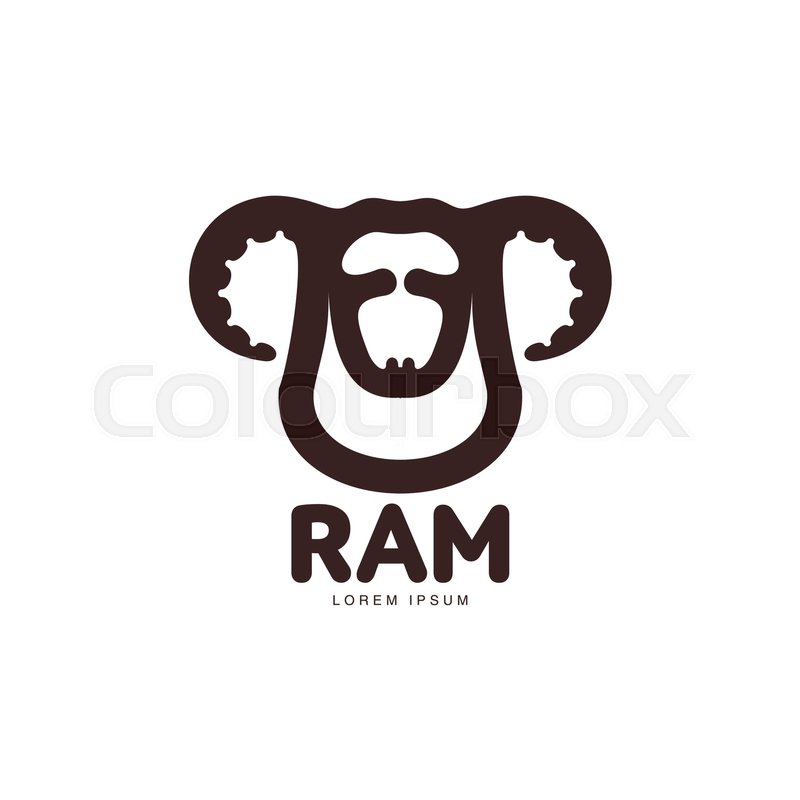 Ram, sheep, lamb head graphic logo template, vector illustration on ...