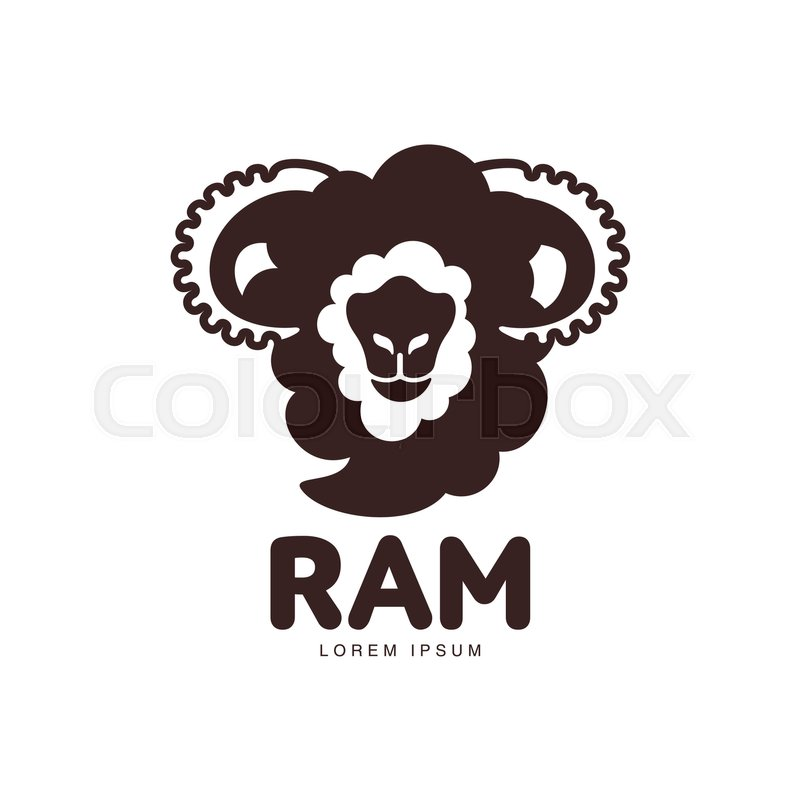 Front view ram, sheep, lamb head graphic logo template, vector ...