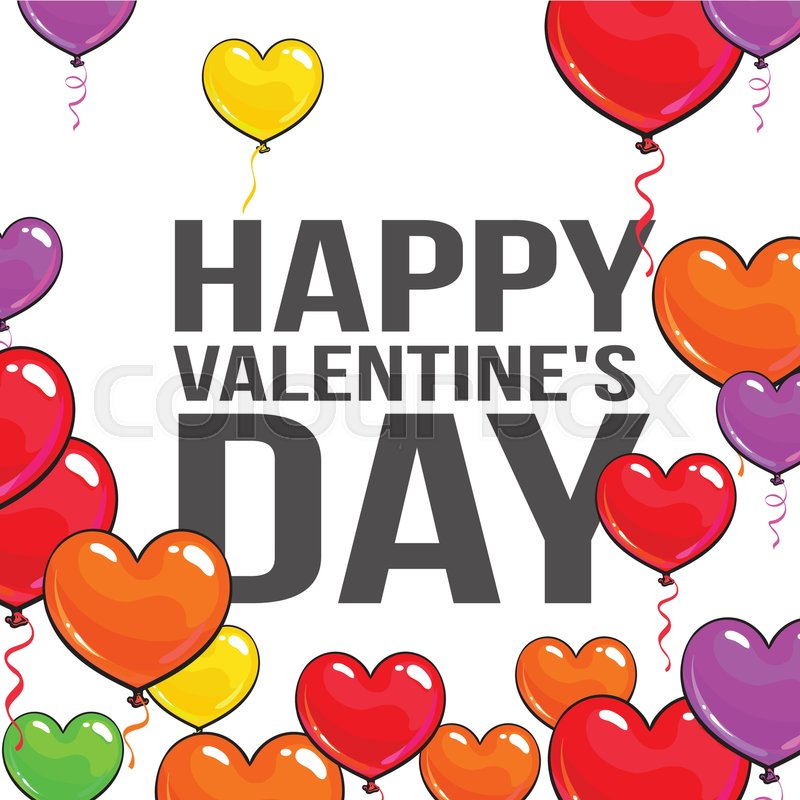 Valentine day greeting card with a bunch of glossy heart shaped