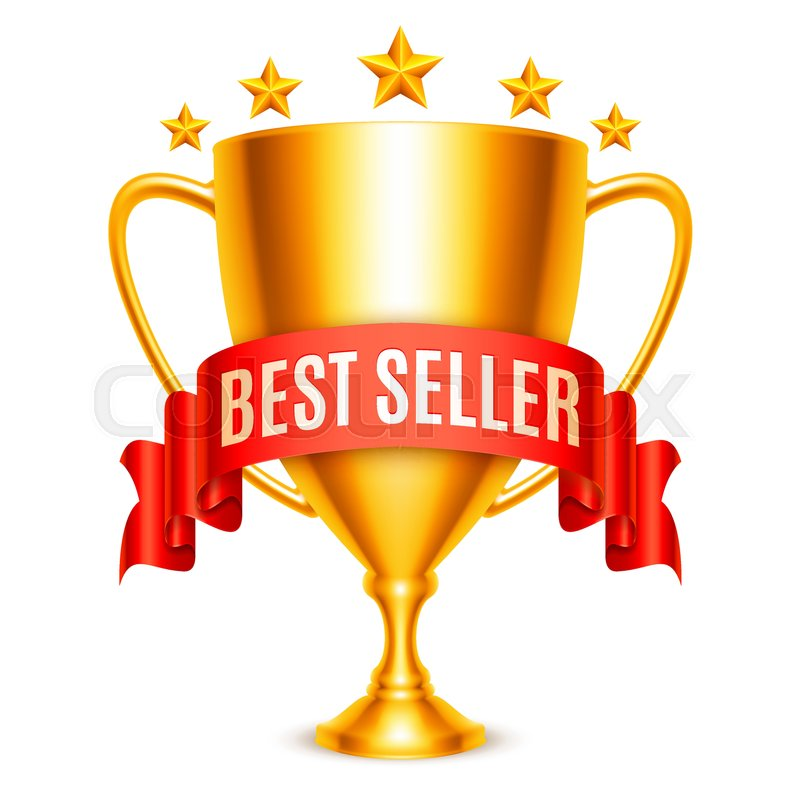 Golden trophy cup with best seller message and five stars for Best seller