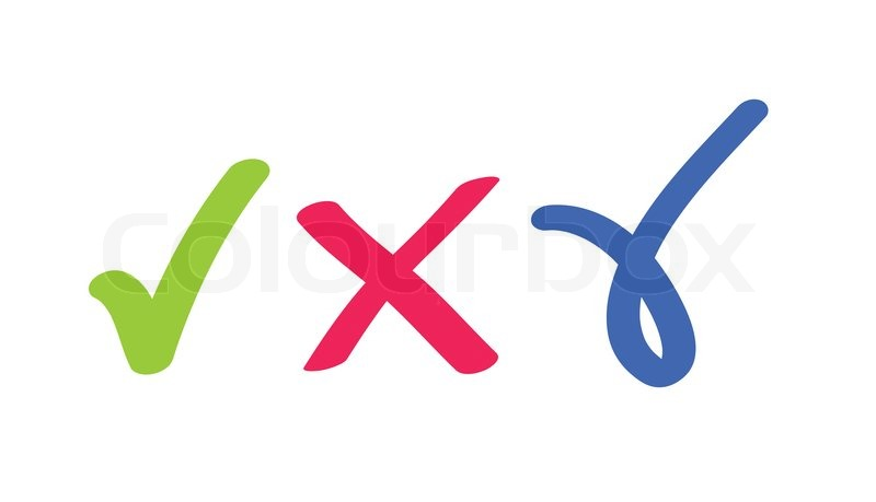 Check Mark And Cross Symbols Stock Photo Colourbox