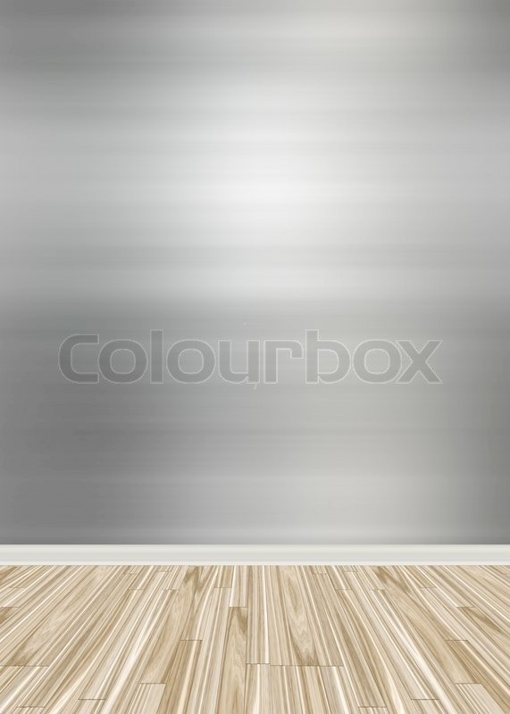 An Empty Room Interior Backdrop With Hard Wood Flooring And A Brushed  Aluminum Or Stainless Steel Wall Treatment | Stock Photo | Colourbox