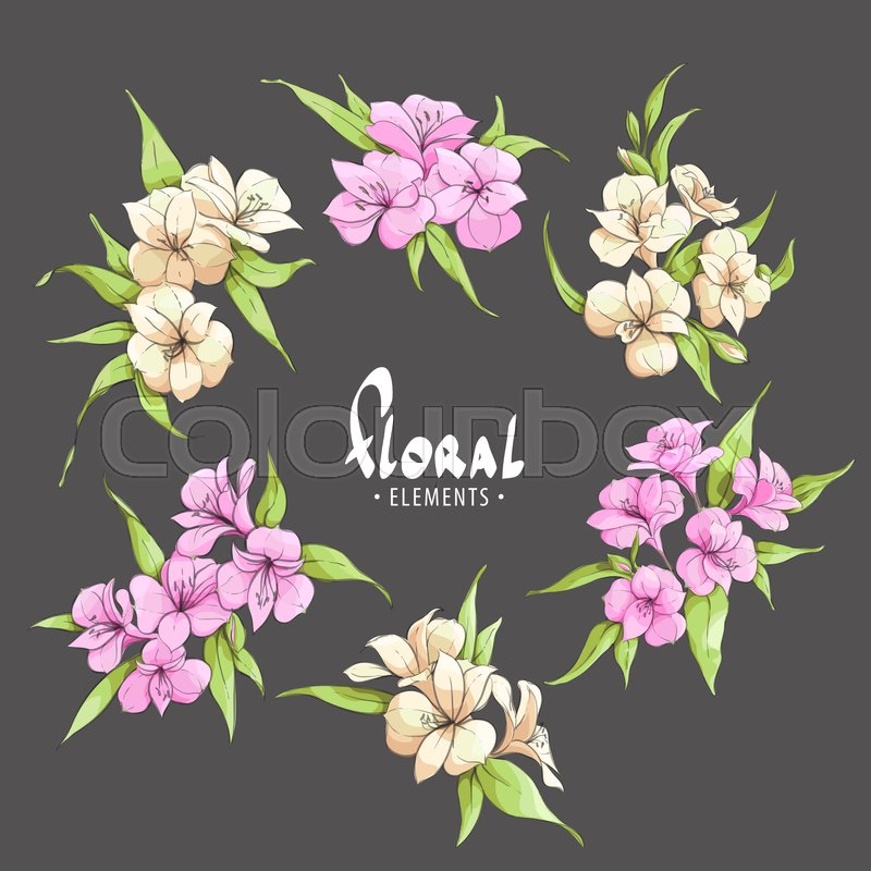 Chic pink and pale yellow flowers on a black background with place chic pink and pale yellow flowers on a black background with place for your inscription vector mightylinksfo