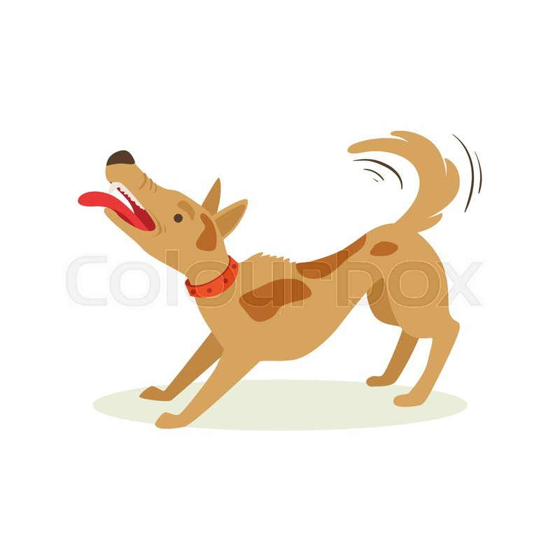 Bristling Up Angry Brown Pet Dog , Animal Emotion Cartoon Illustration. Cute Realistic Active Hound Vector Character Everyday Life Scene Emoji, vector