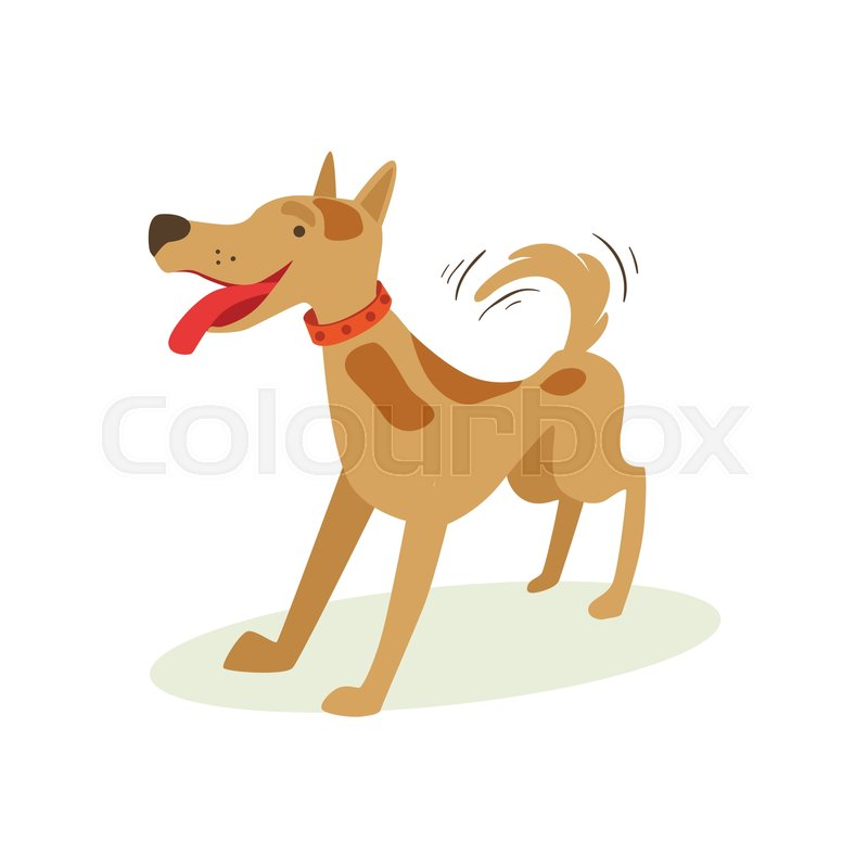 Excited Brown Pet Dog Wants To Play, Animal Emotion Cartoon Illustration. Cute Realistic Active Hound Vector Character Everyday Life Scene Emoji, vector