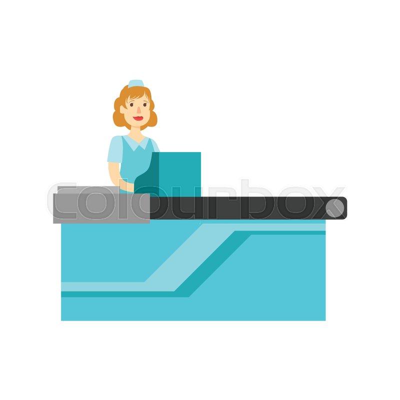 Cashier Cartoons: Woman Cashier At The Counter, Shopping ...