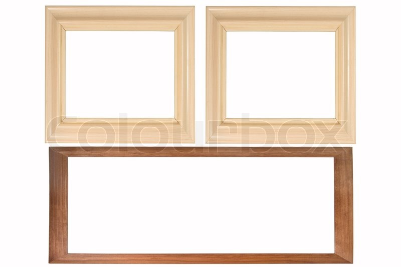 Set of three wooden photo frames isolated on white (with empty space ...