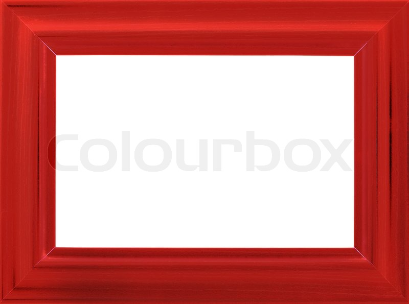 Bright red wooden photo frame isolated on white (with empty space ...