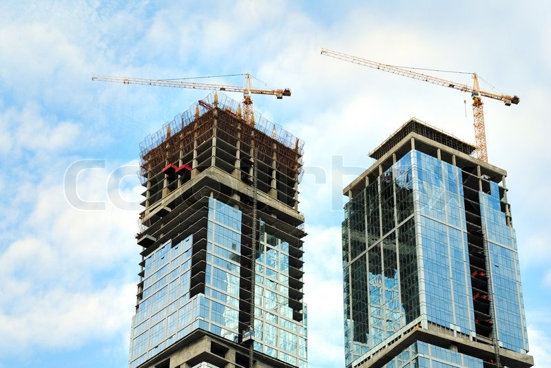 Construction of skyscrapers from glass, a steel and ...