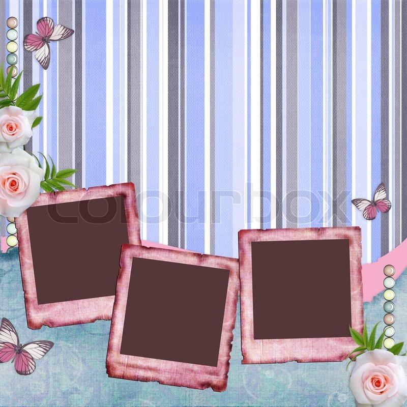 Papir rammer til foto , sommerfugl , steg (1 af sæt) | stock foto | Colourbox
