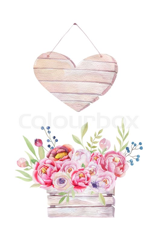 Watercolor flowers wooden heart. Hand-drawn chic vintage garden ...