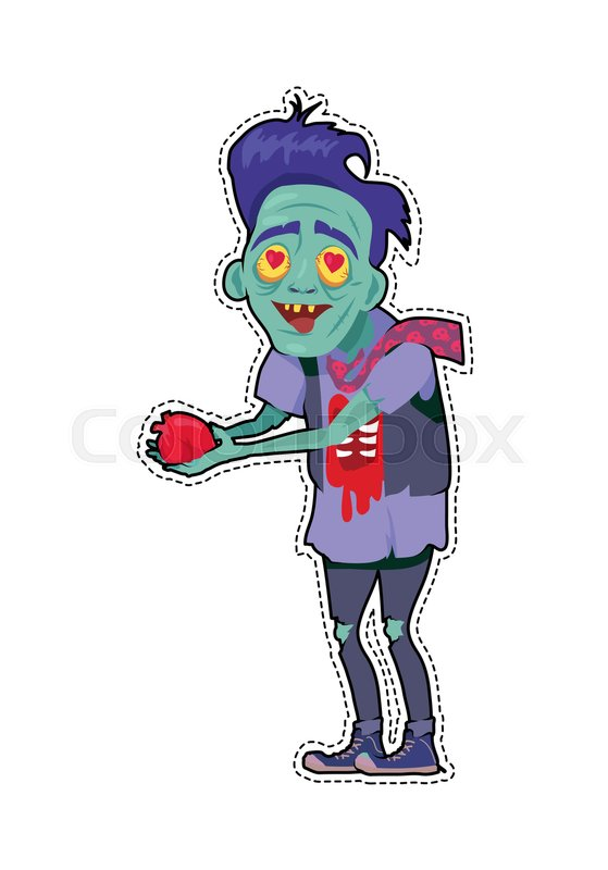Stock Vector Of U0027Scary Zombie Valentine. Dead Man With Grey Skin, In Torn