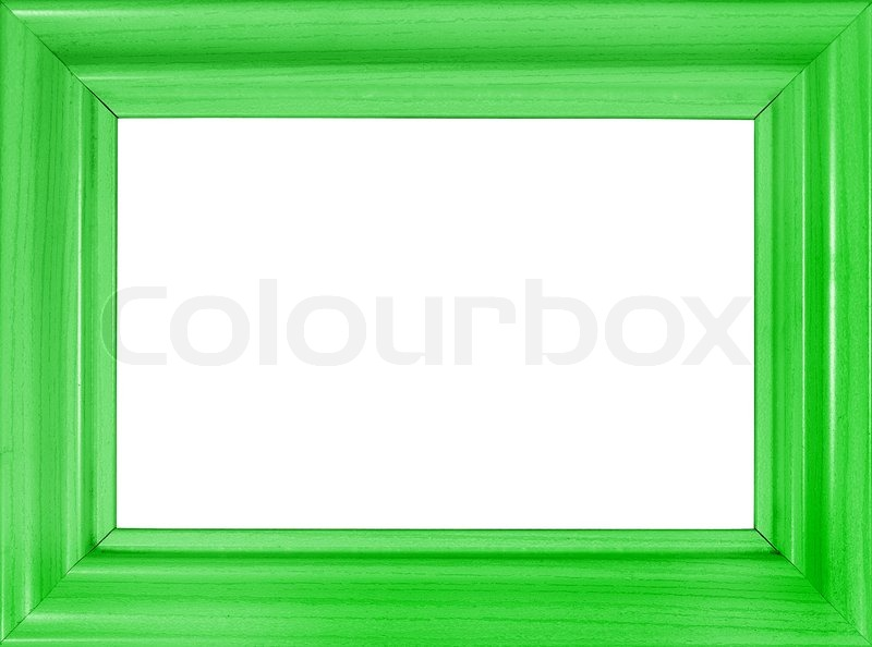 Bright green wooden frame isolated on white (with empty space for ...