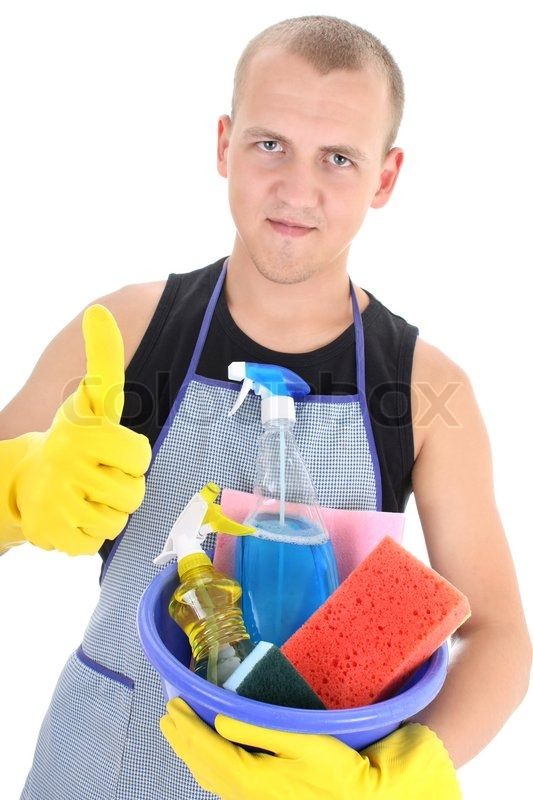 young man with cleaning supplies giving thumbs up