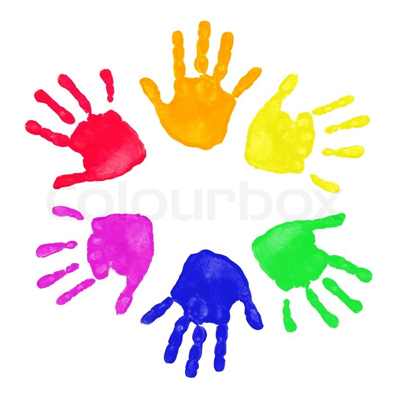 set of colorful hand prints in rainbow order isolated on white background stock photo colourbox - Prints For Kids
