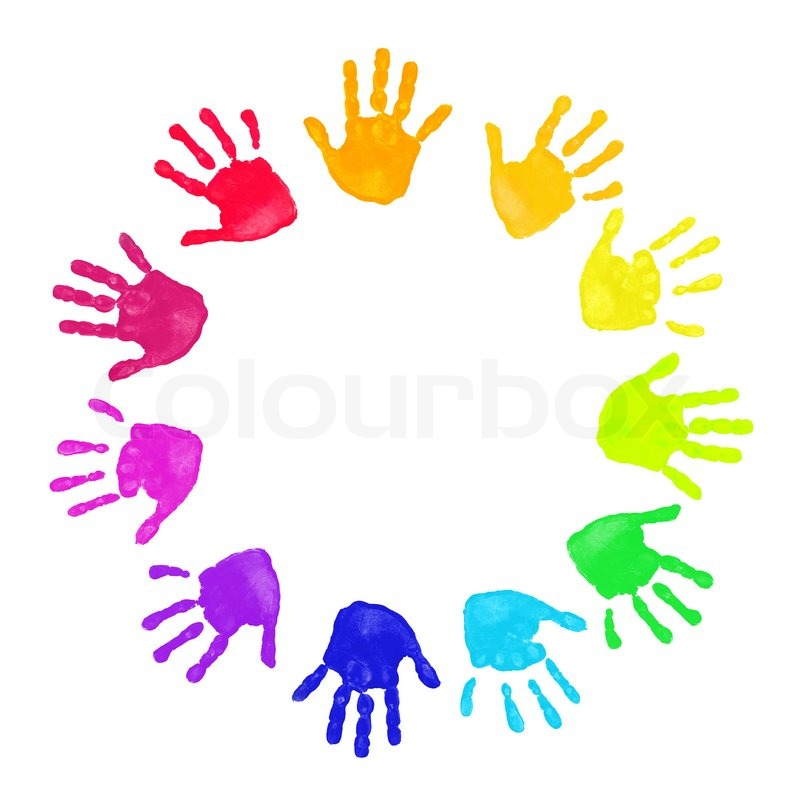 Set Of Colorful Hand Prints In Rainbow Stock Photo Colourbox