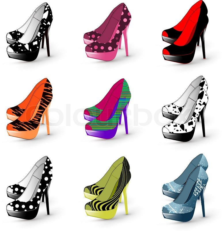 Illustration Of Fashion High Heel Woman Shoes Collection Stock Vector Colourbox