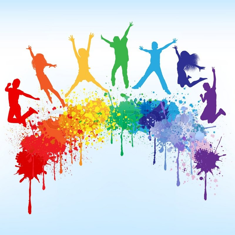 Colorful bright ink splashes and kids jumping on blue background ...
