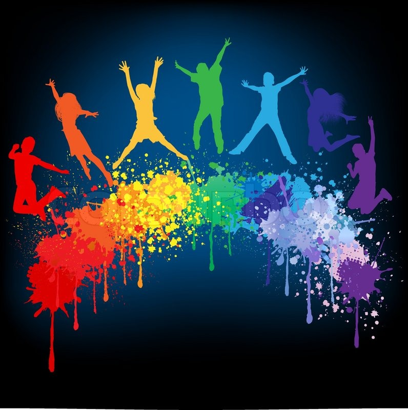 Colorful Bright Ink Splashes And Kids Jumping On Black