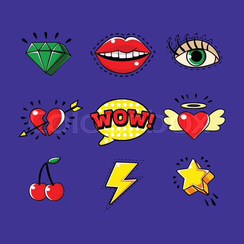 Pop Art Classic Bright Design Elements For Clothing Print And