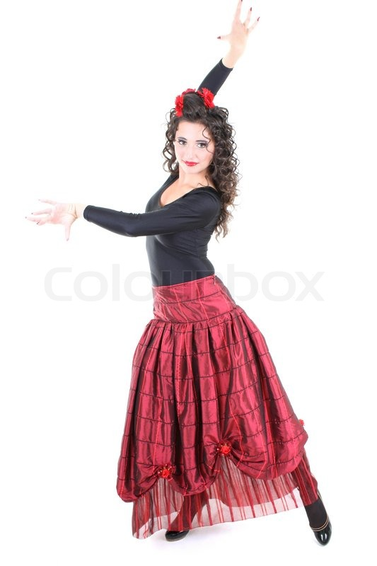Attraktiv spansk danser i rød nederdel | Stock foto | Colourbox
