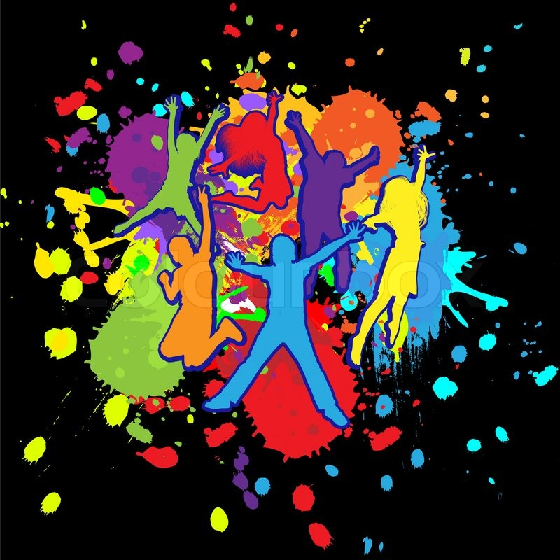 Colorful bright ink splashes and kids jumping on black background ...