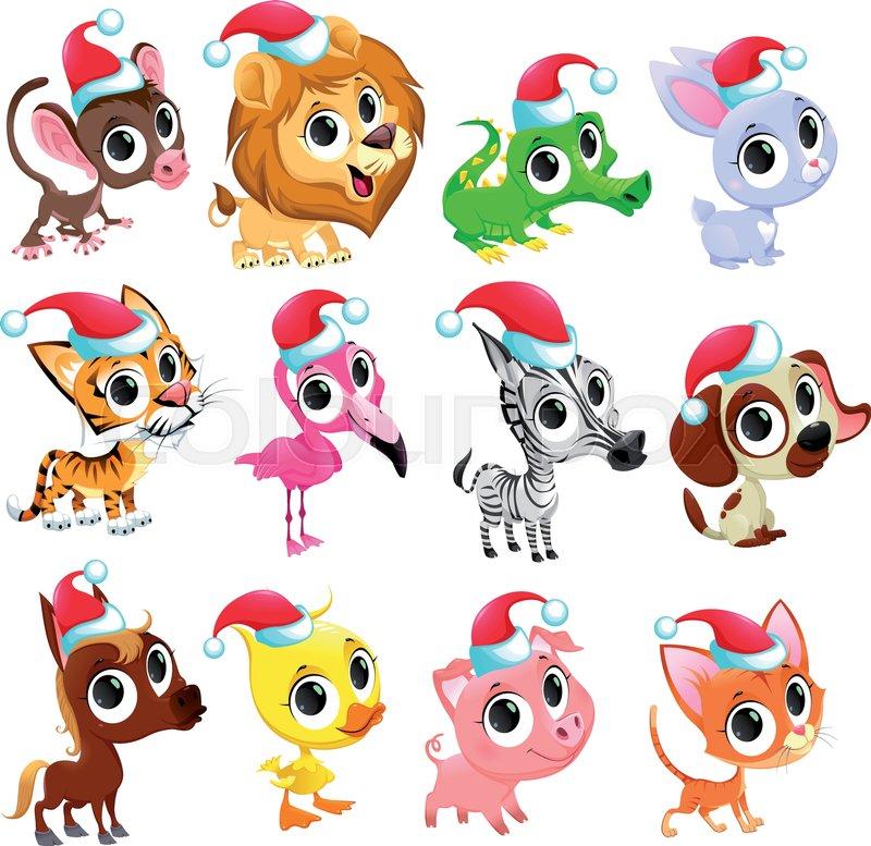 Funny Christmas animals. Vector