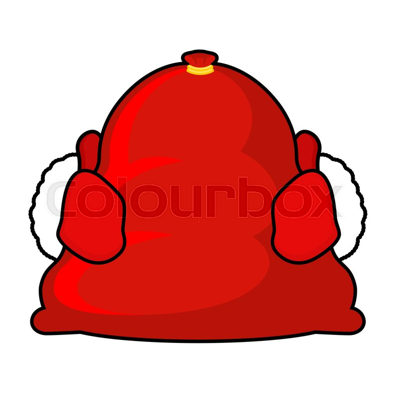 santa bag and red mittens big sack with gifts giving gifts at christmas new year illustration xmas template stock vector colourbox
