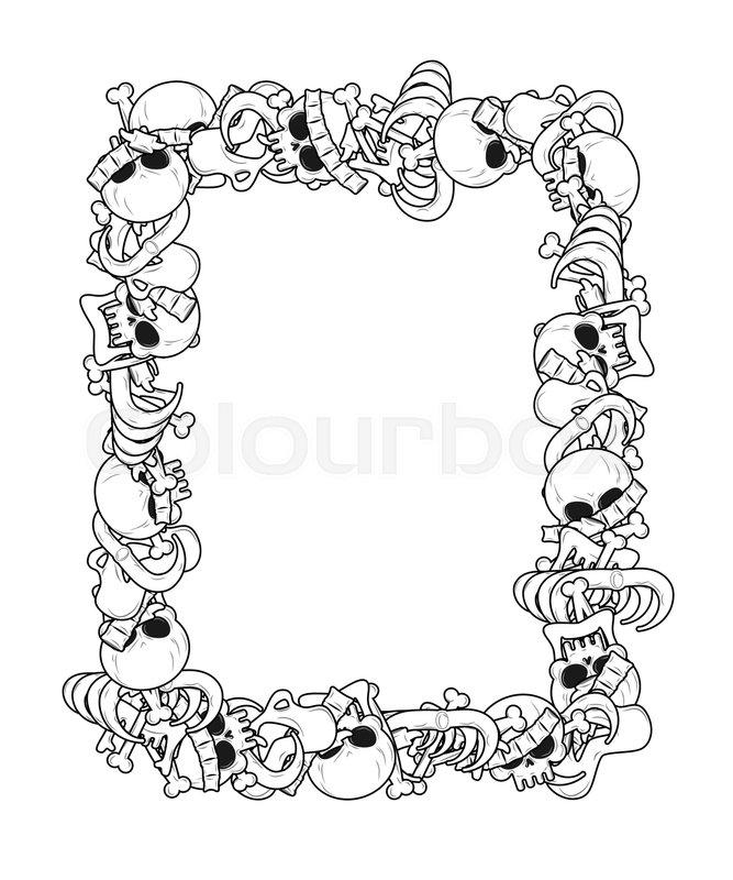 Frame of bones. Anatomy background. Skeleton template. Skull and ...