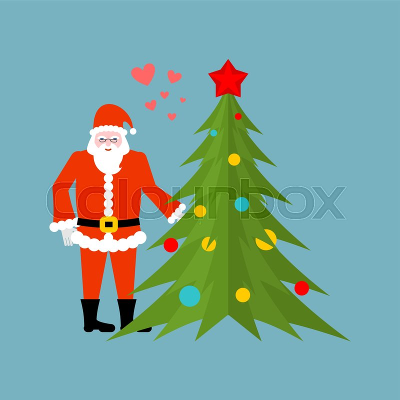 santa claus and christmas tree holding hands christmas date old man in red suit and fur tree new year stock vector colourbox