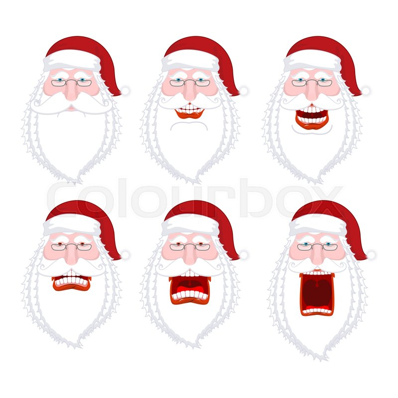 Santa Emoji collection. Santa Claus set of emotions. Angry and funny. Screams and he is smiling. Christmas face. New Year grandfather head. Red cap and beard , vector