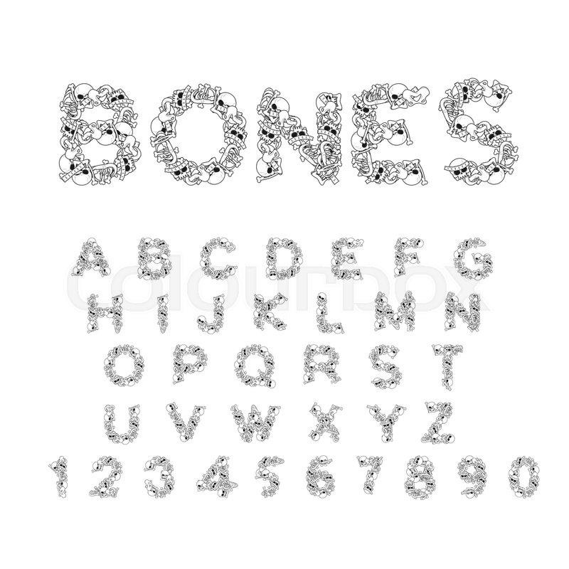 Bones alphabet. Letters anatomy. Skeleton font. Skull and spine. Jaw ...