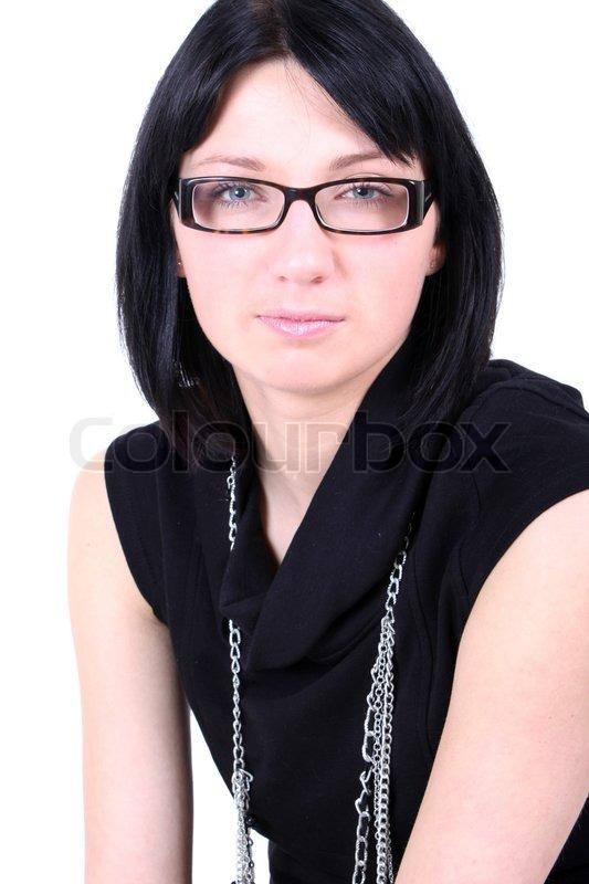 Junge rothaarige Mädchen mit Brille Stockfoto
