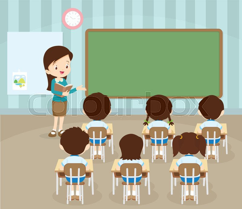 Classroom with teacher and ... | Stock vector | Colourbox (800 x 693 Pixel)