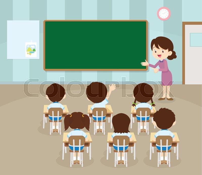 Teacher Standing Teaching In Front Children Raising Hands