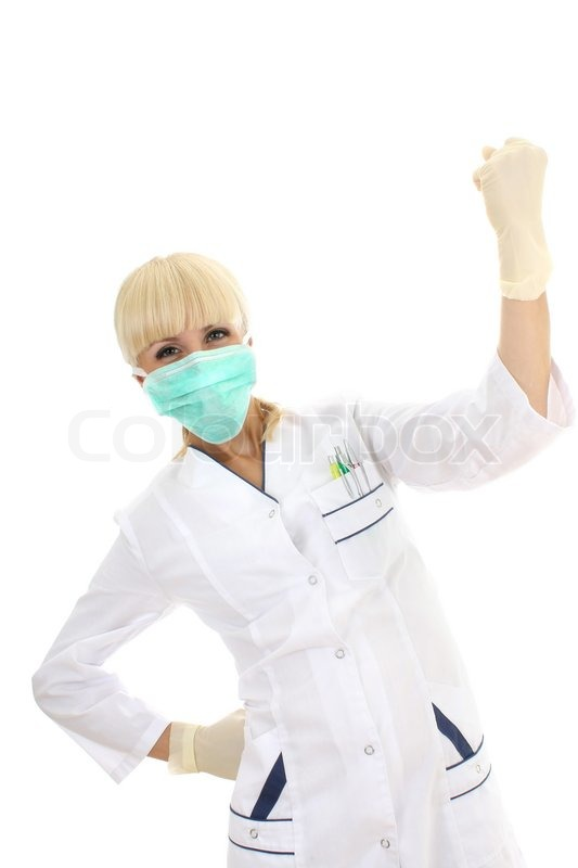 Doctor Woman In Mask And Rubber Gloves Isolated Over White